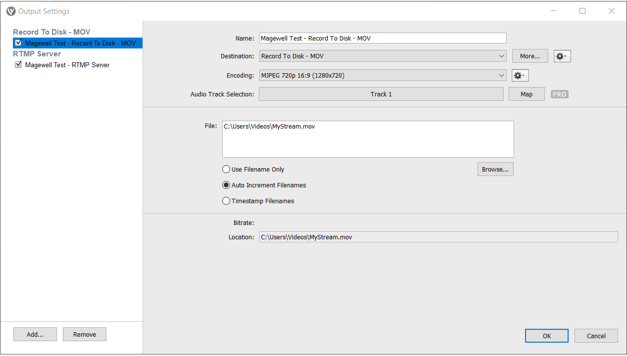 Set video recording format in Wirecast