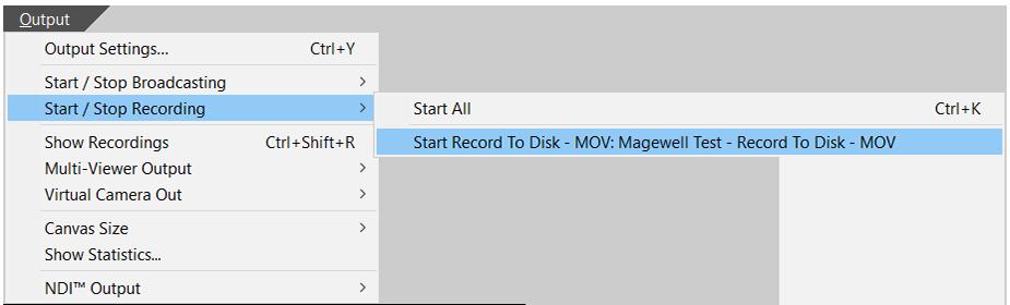 Start recording in Wirecast