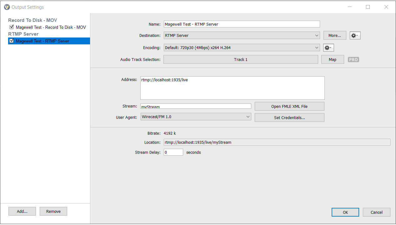 Set video streaming format in Wirecast
