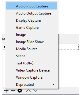 Add audio input devices in OBS