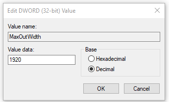 Modify the key value of max output width