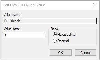 Modify the key value of EDIDMode