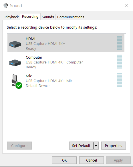 Open the Properties dialog box of recording devices