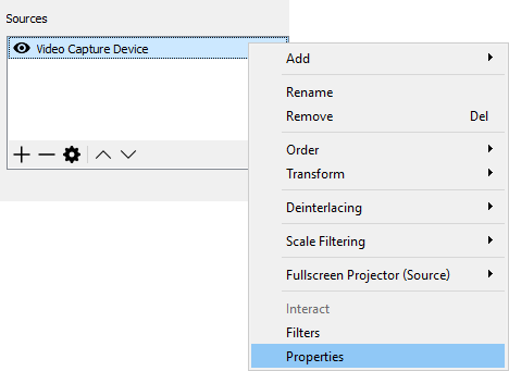 Set the properties of the video capture device in OBS