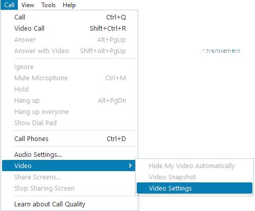 Video Settings in Skype