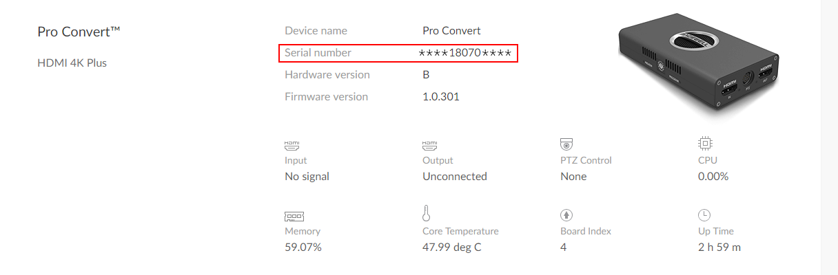 Example of Pro Convert's serial number