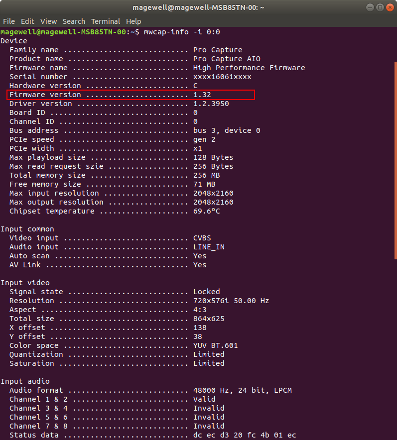 View firmware version in the Terminal