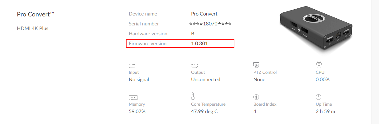 Example of Pro Convert's firmware version