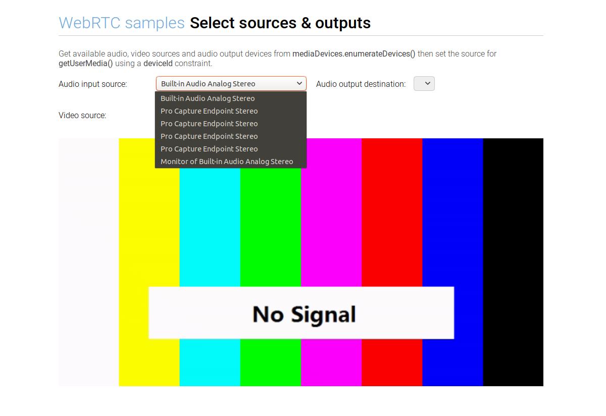 Enumerate audio devices through WebRTC