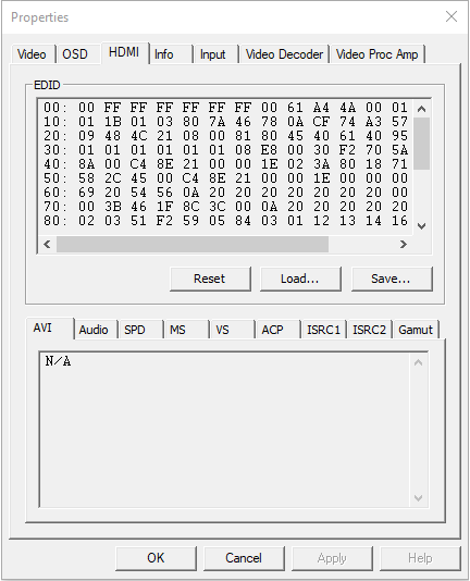 The HDMI tab page of the Pro Capture driver panel