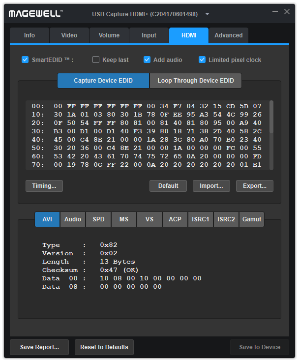 The HDMI tab page of USB Capture Utility V3