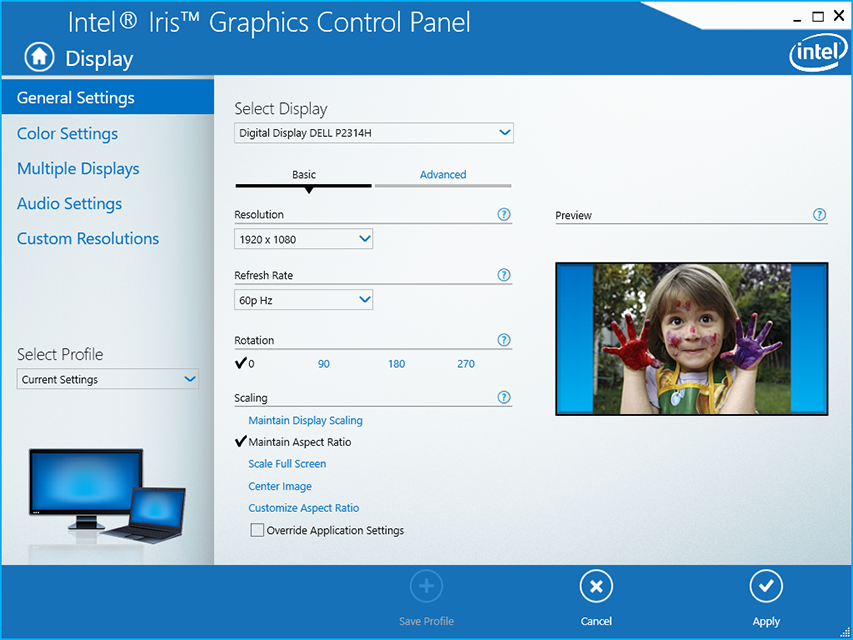 Control panel of the graphics card